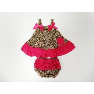 Leopard Red Trims Sleeveless Cotton Swing Top Set Girls S-L