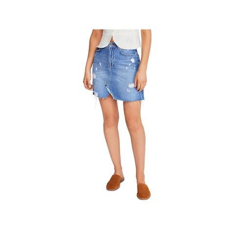 We The Free Womens Denim Skirt Demin Jean - Midstone - 30