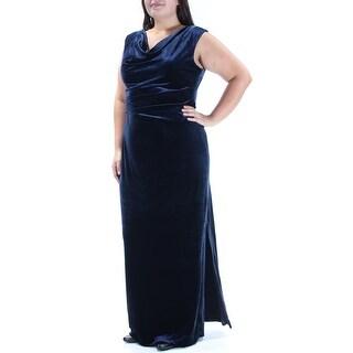 Womens Navy Sleeveless Full-Length Sheath Party Dress Size: 16