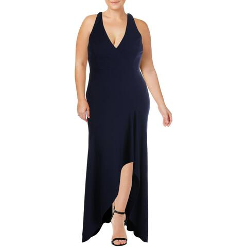 Betsy & Adam Womens Formal Dress V Neck Faux Q - Night Navy