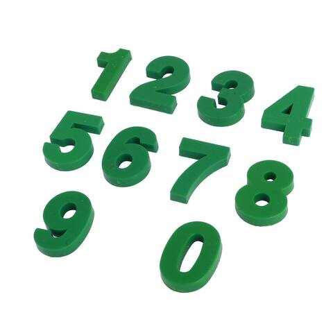 Household Dormitory Plastic Number Shaped Fridge Sticker Magnet Green 10 in 1