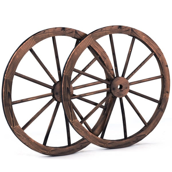 Costway Set of 2 30 In Decorative Vintage Wood Garden Wagon Wheel w/Steel Rim Wall Decor