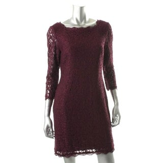 Adrianna Papell Womens Petites Lace Knee-Length Cocktail Dress