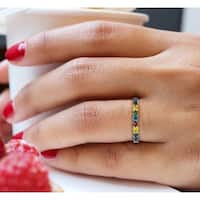 Prism Jewel 1.00 TDW Round Multi Color Diamond Stackable Band, 3.15mm Wide