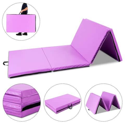 Gymax 4'x10'x2'' Portable Gymnastic Mat Thick Folding Gym Fitness