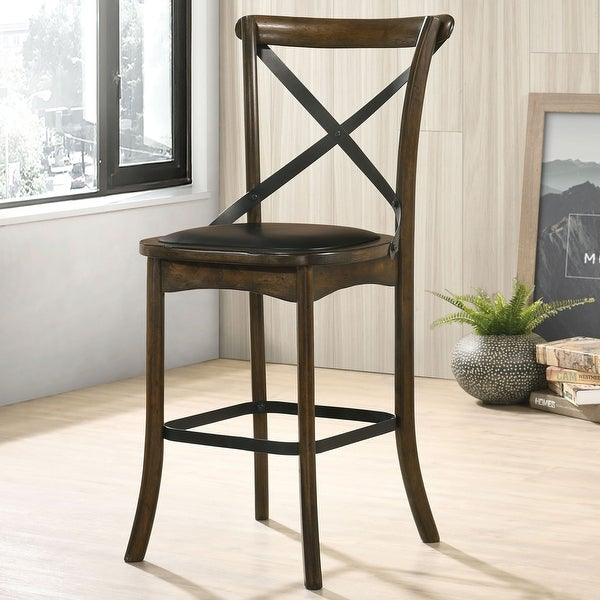 Furniture of America Dola Traditional Oak Counter Chairs (Set of 2). Opens flyout.