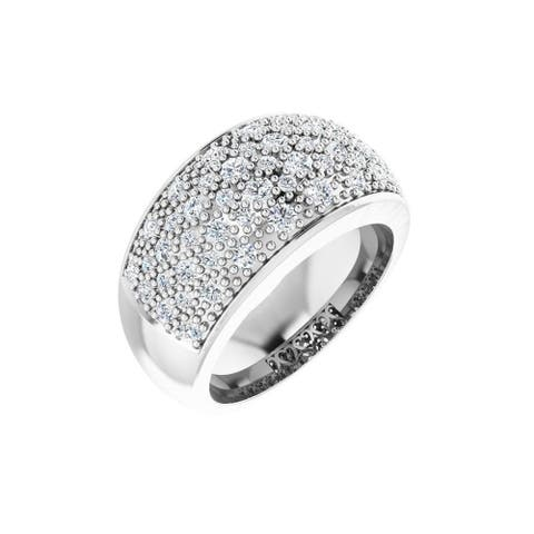 14K White Gold 1 Carat Diamond Micro Pave Ring for Women, Size - 6
