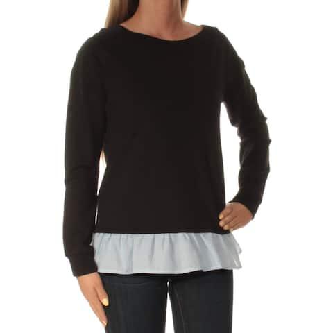 TOMMY HILFIGER Womens Black Long Sleeve Jewel Neck Sweater Size: XL