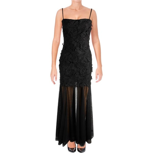 Vera Wang Womens Evening Dress Lace Contrast Trim