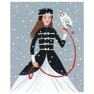 Lady With Snowy Owl Blank Holiday Greeting Cards - Set Of 12