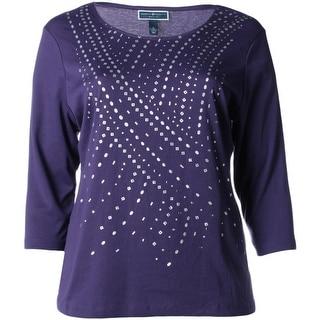 Karen Scott Womens Plus Pullover Top Graphic 3/4 Sleeves