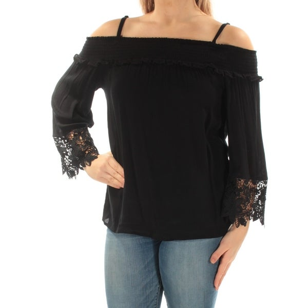 d89dfb42ffefa9 Shop INC Womens Black Lace Cold Shoulder Floral Bell Sleeve Square Neck Top  Size  M - On Sale - Free Shipping On Orders Over  45 - Overstock - 21329596