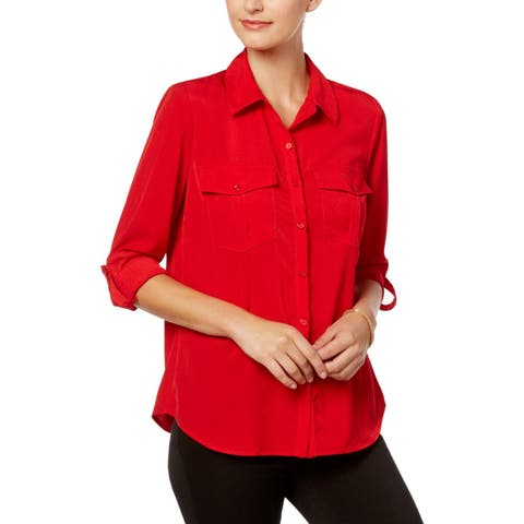 NY Collection Womens Blouse Button-Down Long Sleeve
