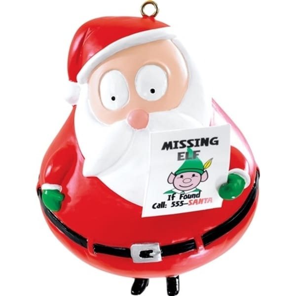 "3.5"" Carlton Cards Heirloom Humorous Missing Elf Christmas Ornament - RED"