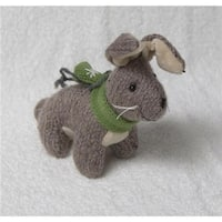 6 in. Gray Plush Bunny Rabbit with Green Scarf Christmas Figure