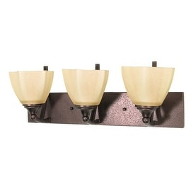 "Nuvo Lighting 60/061 Normandy 3 Light 22"" Wide Vanity Light with Champagne Washed Linen Glass Shades - copper bronze"