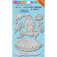 """Stampendous Cling Stamps & Stencils 5""""X7""""-Mermaid"""