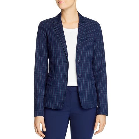 Lafayette 148 New York Womens Thatcher Blazer Window Pane Suit Separate - Elm Green Multi