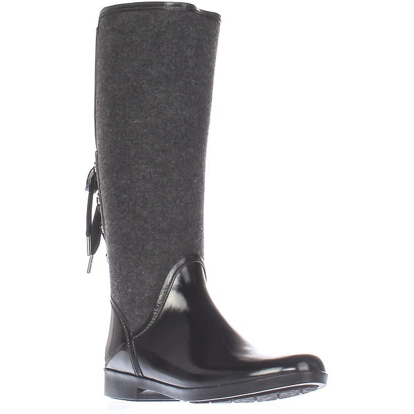 MICHAEL Michael Kors Larson Back Lace Rainboots, Black Flannel