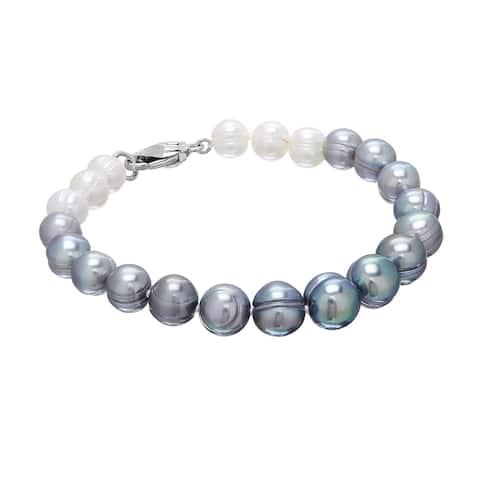 Honora 7-10 mm Grey & White Ombré Freshwater Pearl Bracelet in Sterling Silver