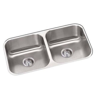 "Proflo PFUC206 31-1/4"" Double Basin Undermount 18-Gauge Stainless Steel Kitchen Sink with Sound Absorption Technology"