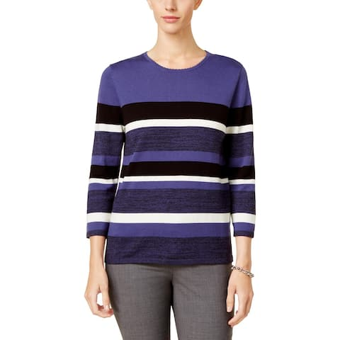 Alfred Dunner Womens Pullover Sweater Striped Long Sleeve - M