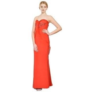 Badgley Mischka Sculptural Strapless Stretch Silk Flame Red Eve Gown Dress - 6
