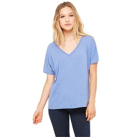 Bella 8815 Womens Slouchy V-Neck Tee - Blue Triblend Medium