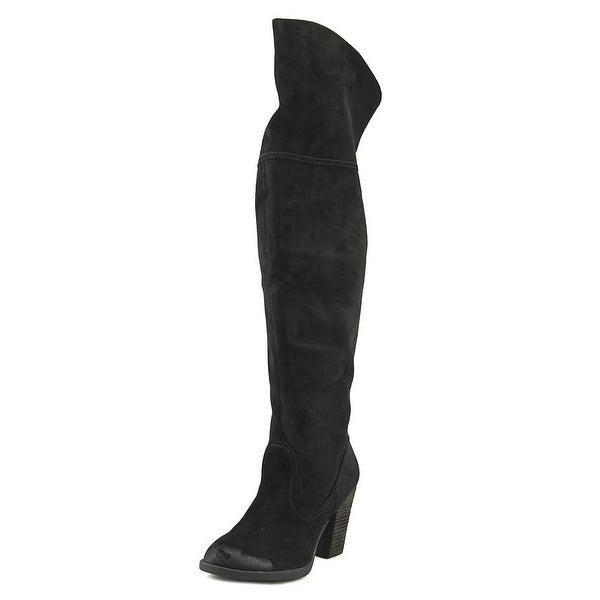 Not Rated Andra Women Round Toe Canvas Black Over the Knee Boot