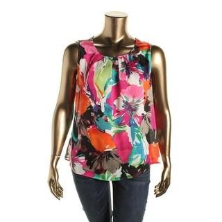 Kasper Womens Plus Printed Sleeveless Blouse - 1X