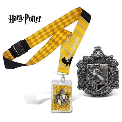 Warp Gadgets Harry Potter Bundle - Hufflepuff Deluxe Lanyard W/ Card Holder and Pewter Lapel Pin (2 Items)