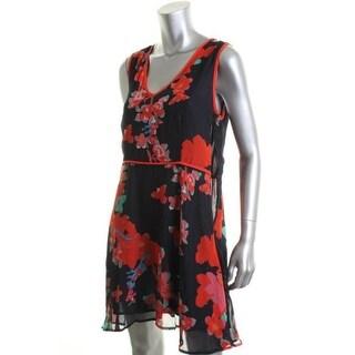 Aqua Womens Chiffon Sleeveless Wear to Work Dress - M