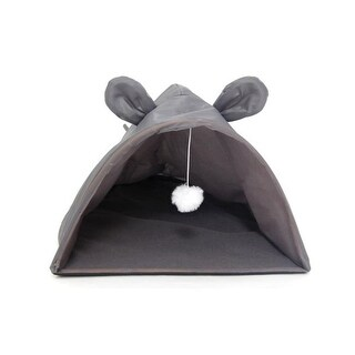 Bulk Buys OF791-3 Mouse Shape Cat House with Hanging Toy, 3 Piece