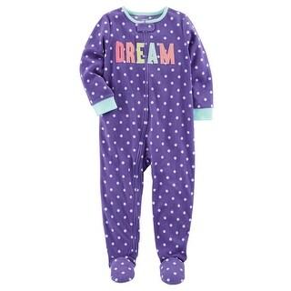 Carter's Baby Girls' 1 Piece Dream Fleece Pajamas, 6 Months - Purple