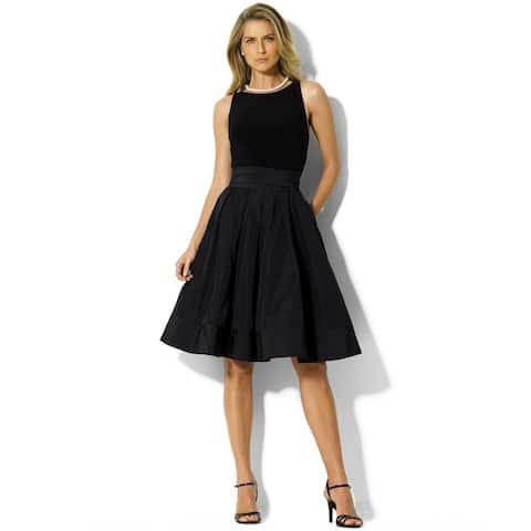 Ralph Lauren Womens Pleated Fit & Flare Dress, Black, 22
