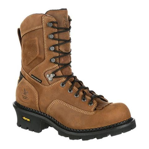 "Georgia Boot Men's GB00097 9"" CC Comp Toe Waterproof Work Logger Brown Full Grain Leather"