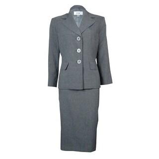 Le Suit Women's Woven Notched Sleeve Vienna Skirt Suit - Grey