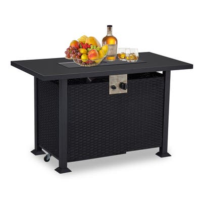 Kinsunny CSA Propane Gas Fire Pit Table,Resin Rectangular Outdoor PE Rattan Wicker Table,with Glass Tabletop & Oxford Cover