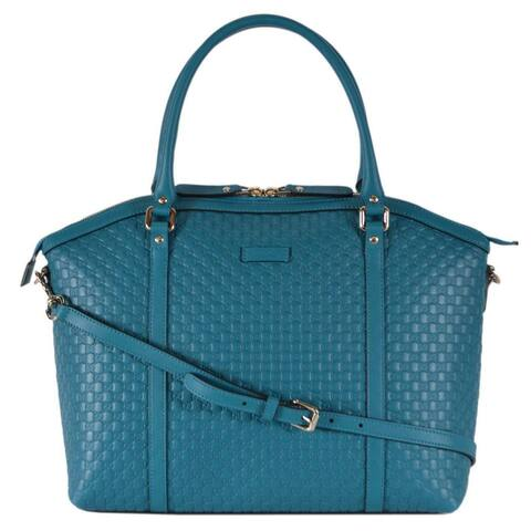6d7084ed5 Gucci 449657 Cobalt Teal Leather Micro GG Guccissima Crossbody Dome Purse -  Cobalt Teal
