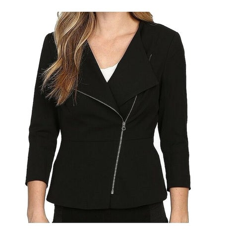 NYDJ Black Women Size 2 Asymmetric Zip Front 3/4 Sleeve Moto Jacket