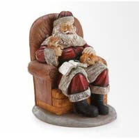 """11.25"""" Santa Claus Sitting in a Chair with Puppy Dogs Christmas Figure"""