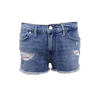 Tommy Hilfiger Women's Ripped Denim Shorts - Blue