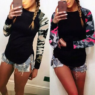 Camouflage Long Sleeve Shirt Tops in Plus Size to 5XL