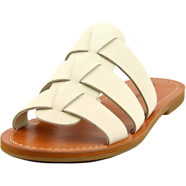 Lucky Brand Aisha Women  Open Toe Leather White Slides Sandal