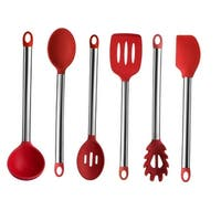 Culinary Edge 48RED66 6 Piece Silicone and Stainless Steel Kitchen Utensil Set, Red