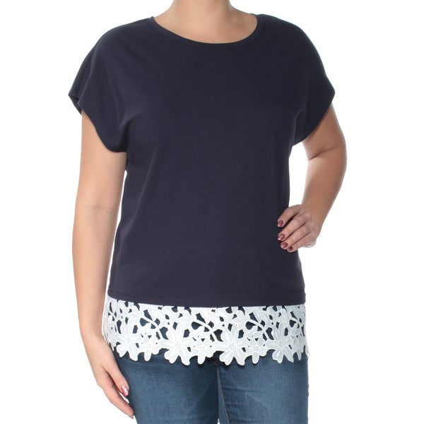 802cbb22865 Shop TOMMY HILFIGER Womens Navy Lace Short Sleeve Jewel Neck Top Plus Size   0X - Free Shipping On Orders Over  45 - Overstock - 24083951