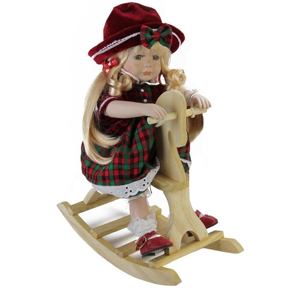 "17.5"" Porcelain ""Jamie"" on Wooden Rocking Horse Collectible Christmas Doll - green"