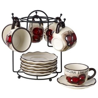 Cucina Italiana Dolomite Stone Espresso Cups and Saucers 13 Pc Set with Metal Rack, White Cherry Décor