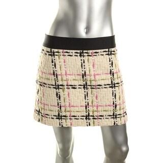 Milly Womens Wool Plaid Straight Skirt - 12