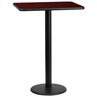 "Dyersburg 24'' x 30'' Rectangular Mahogany Laminate Table Top w/42"" High Round Base"